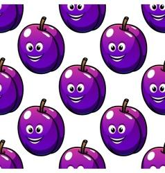Cartoon violet plum fruit seamless pattern vector image