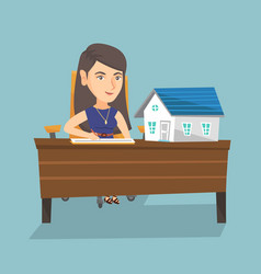 Caucasian real estate agent signing a contract vector