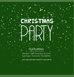 christmas party green snowflake background vector image