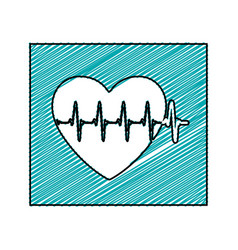 Color pencil drawing square frame with heartbeat vector