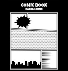 Comic book pop art monochrome mock up vector
