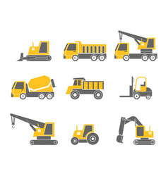 construction vehicles flat design icon set vector image