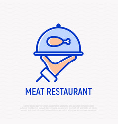 covered food tray in hand with meat vector image