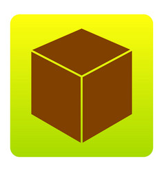cube sign brown icon at vector image
