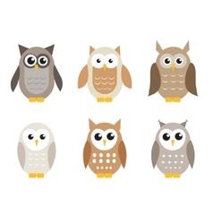 Cute cartoon owl set Owls in shades of gray vector