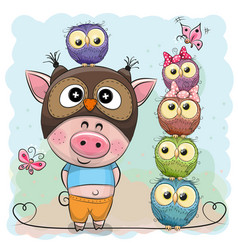Cute cartoon pig and five owls vector