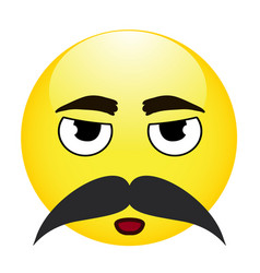 cute emoticon with moustache on white background vector image