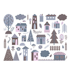 cute scandinavian buildings abstract architecture vector image