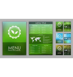 Design of a tea menu with blurred background vector image
