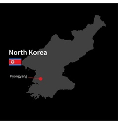 Detailed map of North Korea and capital city vector image