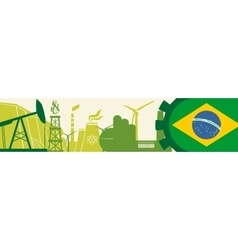 Energy and Power icons set Brazil flag vector
