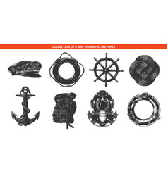 engraved style sea ship collection for posters vector image