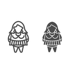 Fat girl line and glyph icon body positive vector