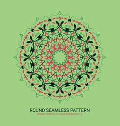 Floral round design sign vintage circular pattern vector
