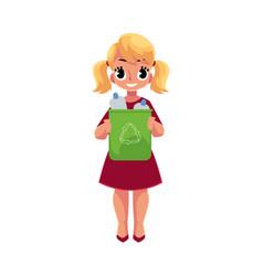 Girl holding trash bin with plastic bottles vector