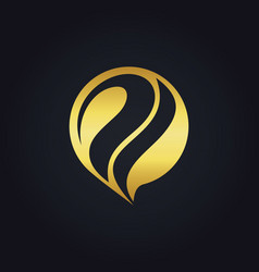 Gold abstract technology initial logo vector