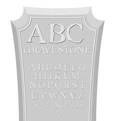 Gravestone ABC font for tombstone Alphabet for RIP vector