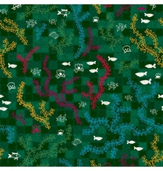 Green underwater seaweed seamless pattern vector image