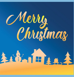 Greeting card with lettering merry christmas on vector