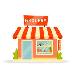 Grocery shop facade flat vector