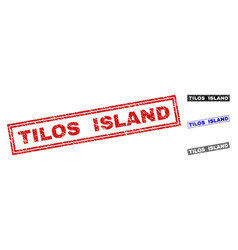grunge tilos island scratched rectangle watermarks vector image
