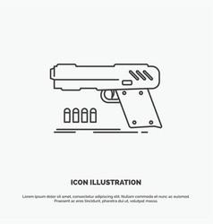 gun handgun pistol shooter weapon icon line gray vector image