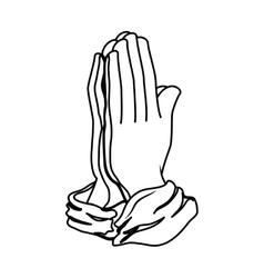 Hands praying isolated icon vector