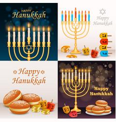 hanukkah banner set realistic style vector image