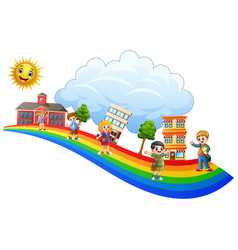 happy children playing together vector image