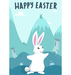 happy easter bunny rabbit and nice background vector image