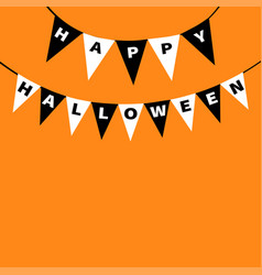 happy halloween card bunting flags pack letters vector image