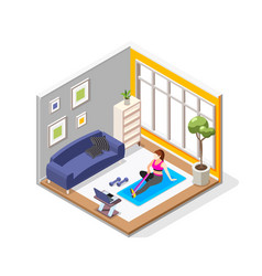 Home fitness isometric composition vector