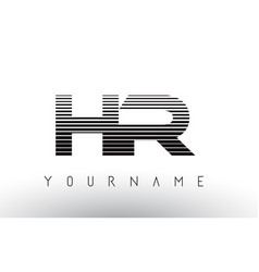 hr h r black and white horizontal stripes letter vector image