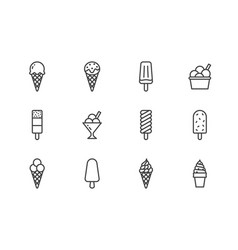 ice cream flat line icons set waffle cone ice vector image