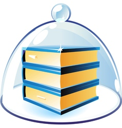 Icon of books under bell-glass vector image