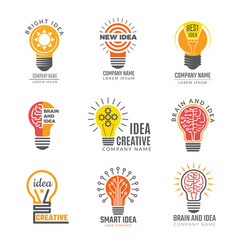 ideas bulb logotypes colorful creative lamp shape vector image