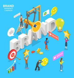 Isometric flat concept brand awareness vector