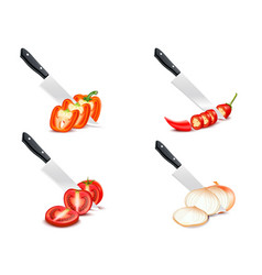 knife chopping vegetable 3d design set vector image