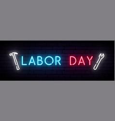 labor day neon sign long horizontal light banner vector image