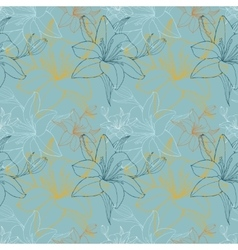 Lily in blue color scheme seamless pattern vector image
