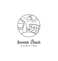 line art surfing logo design surfer logo vector image