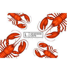 Lobster colored banner hand drawn seafood vector