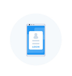Login form on smartphone mobile authentication vector