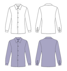 Long sleeve mans buttoned shirt vector