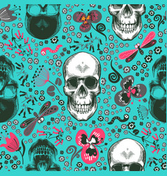 Lovely seamless pattern with human skulls drawn in vector