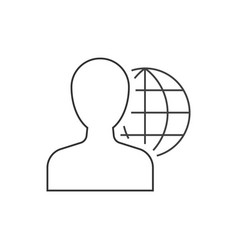 man and globe behind linear icon on white vector image