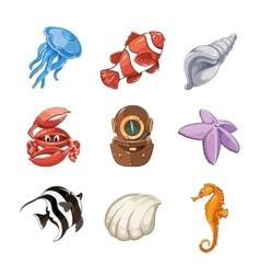 Marine icon set in cartoon style vector image