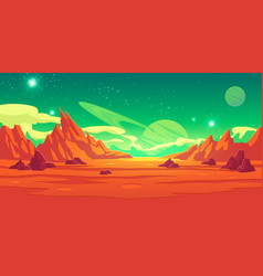 Mars landscape alien planet martian background vector