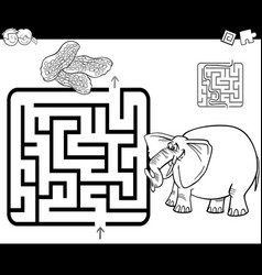 Maze with elephant coloring page vector
