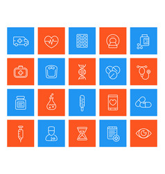 Medicine healthcare linear icons vector